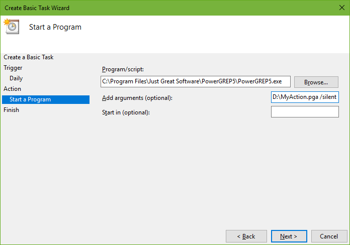 Adding PowerGREP to the Windows Task Scheduler